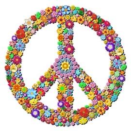 Peace Symbol Groovy Flowers Design-Pace Simbolo Floreale